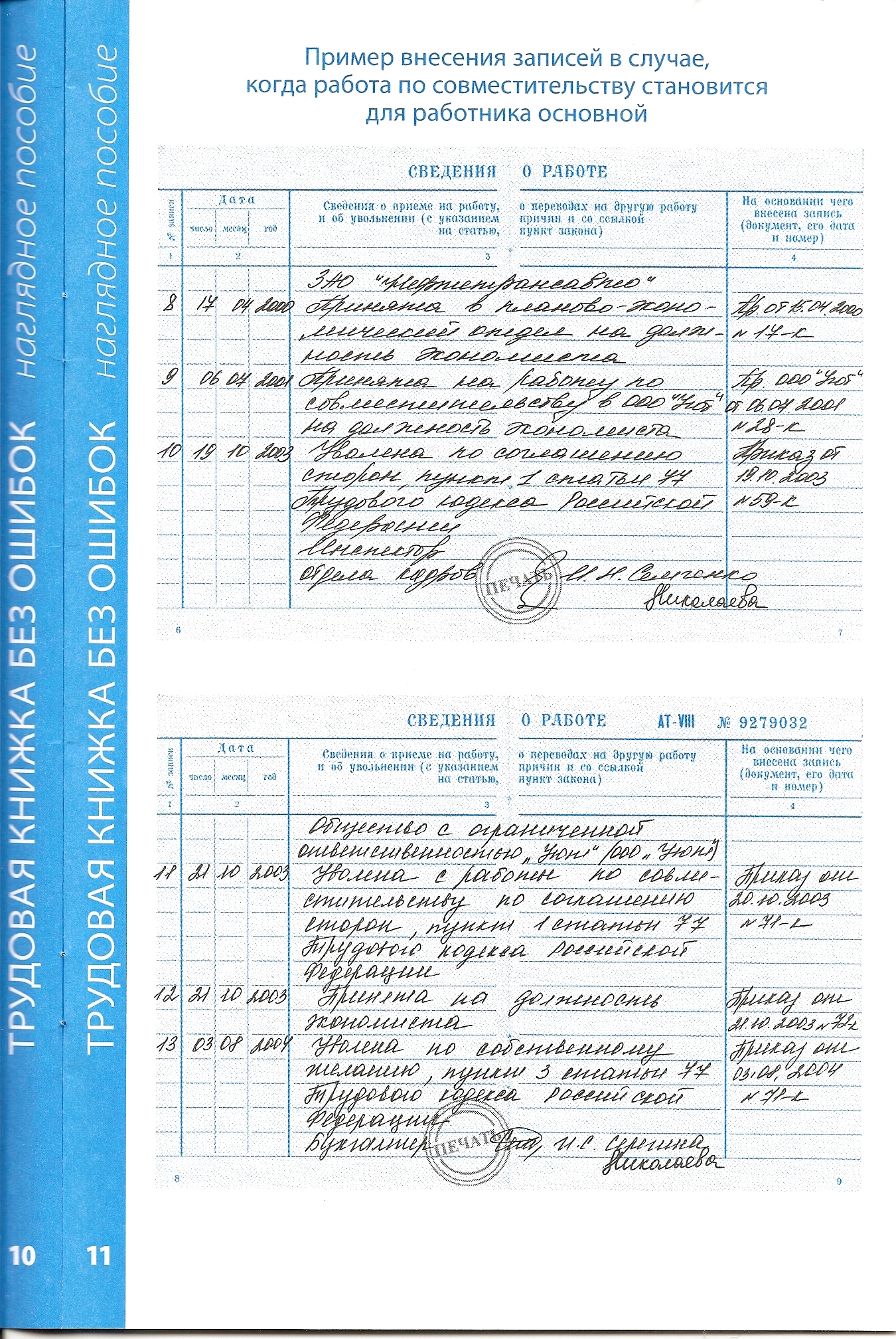 Заполнение трудовой книжки при приеме, переводе 87
